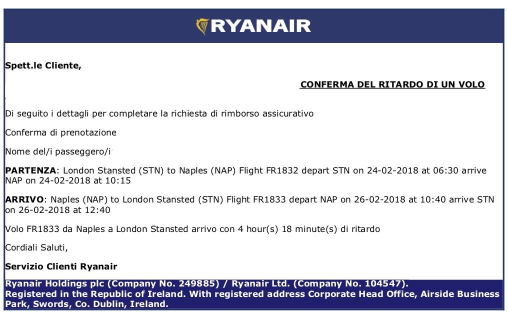 comunicazione ritardo volo Ryanair di 5 ore