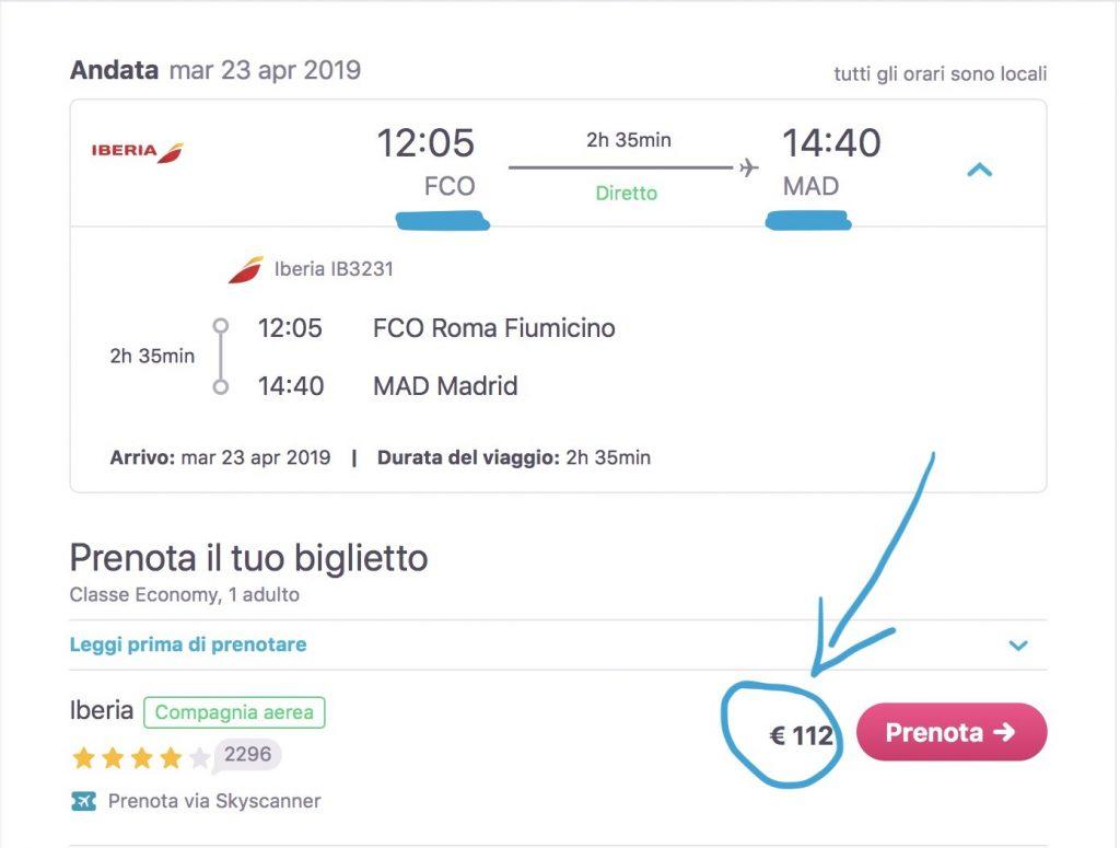 volo economico Roma-Madrid