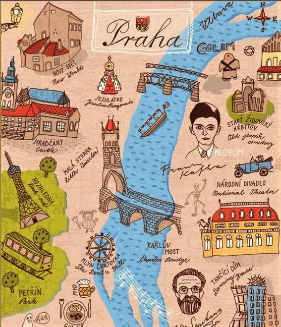 mappa di Praga con disegni