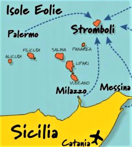 mappa delle isole eolie