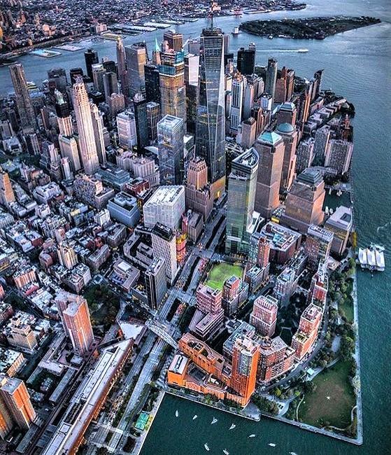 vista aerea con palazzi di Lowe Manhattan