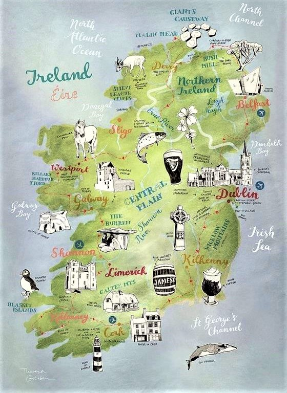 cartina illustrata dell'Irlanda