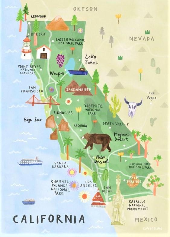 mappa illustrata della California