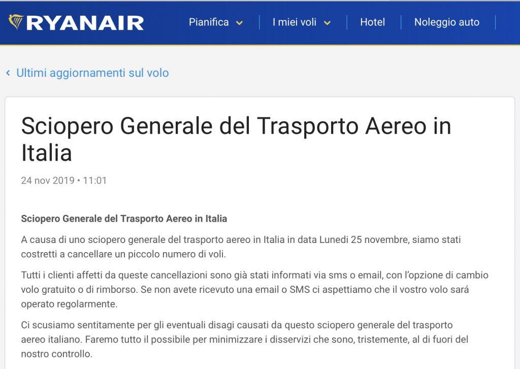 comunicazione Ryanair per sciopero aereo