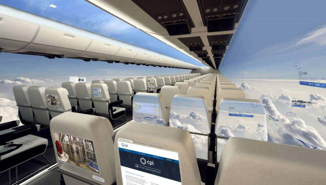 Il futuro degli aerei: niente finestrini e vedute panoramiche per tutti