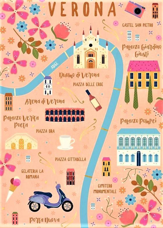 mappa illustrata di Verona