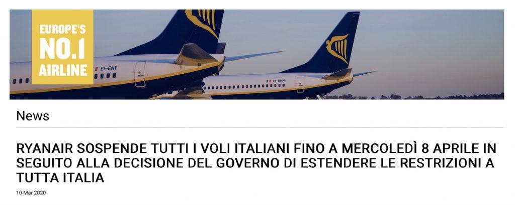 Ryanair ha cancellato tutti i voli in italia e per l'estero per emergenza Coronavirus