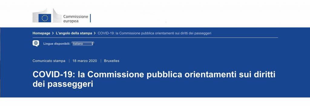 Orientamenti UE su rimborso volo cancellato COVID-19 Flycare
